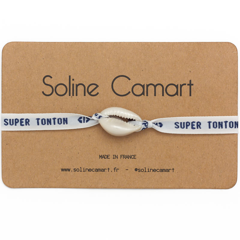 Bracelet Super Tonton Message Brodé Oncle Homme Coquillage