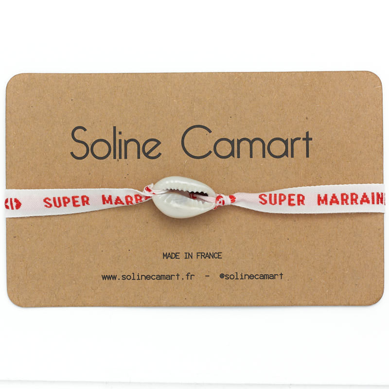 Bracelet Super Marraine Message Brodé Femme Rouge Coquillage
