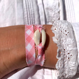 bracelet coquillage vichy rose