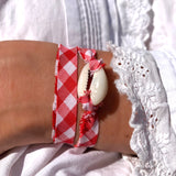 bracelet coquillage vichy rouge
