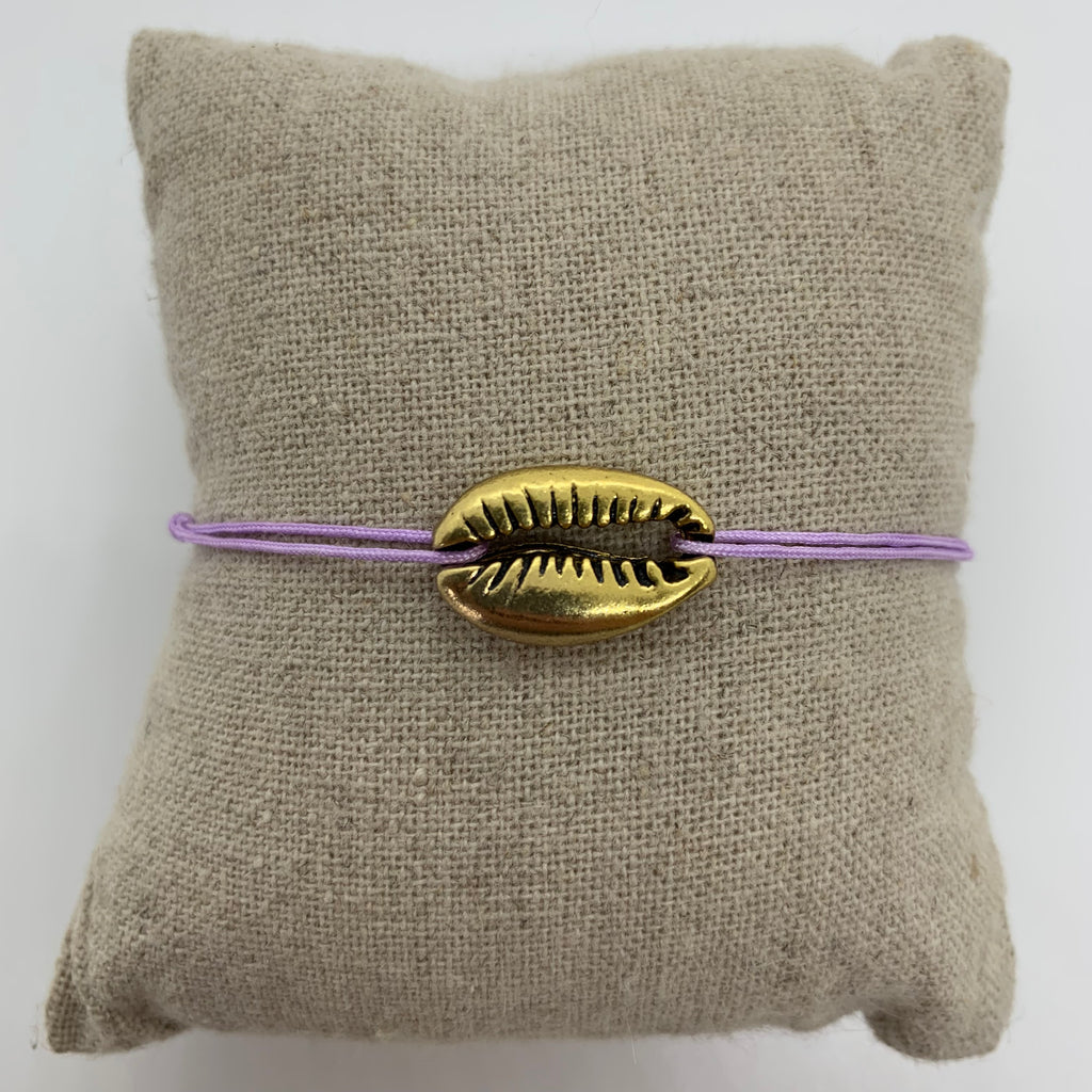 bracelet gros coquillage or dore cordon lilas