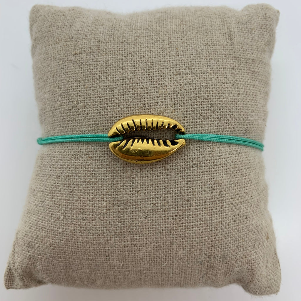 bracelet gros coquillage or dore cordon turquoise