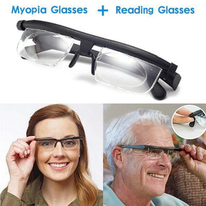 Focus Adjustable Eyeglasses -3 to +6 Diopters Myopia Glasses Reading Glasses