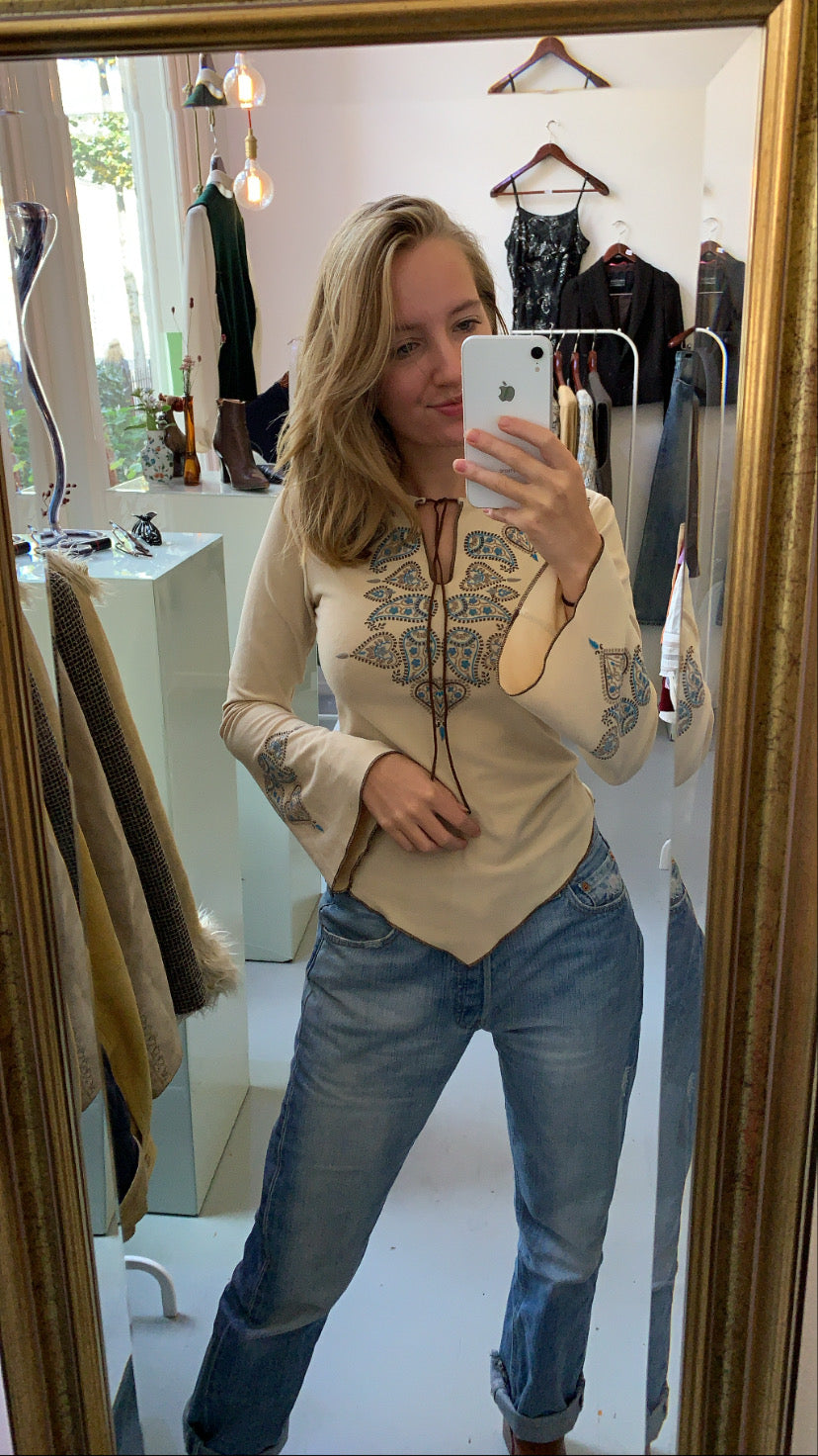 Beige soft western top (XS/S)