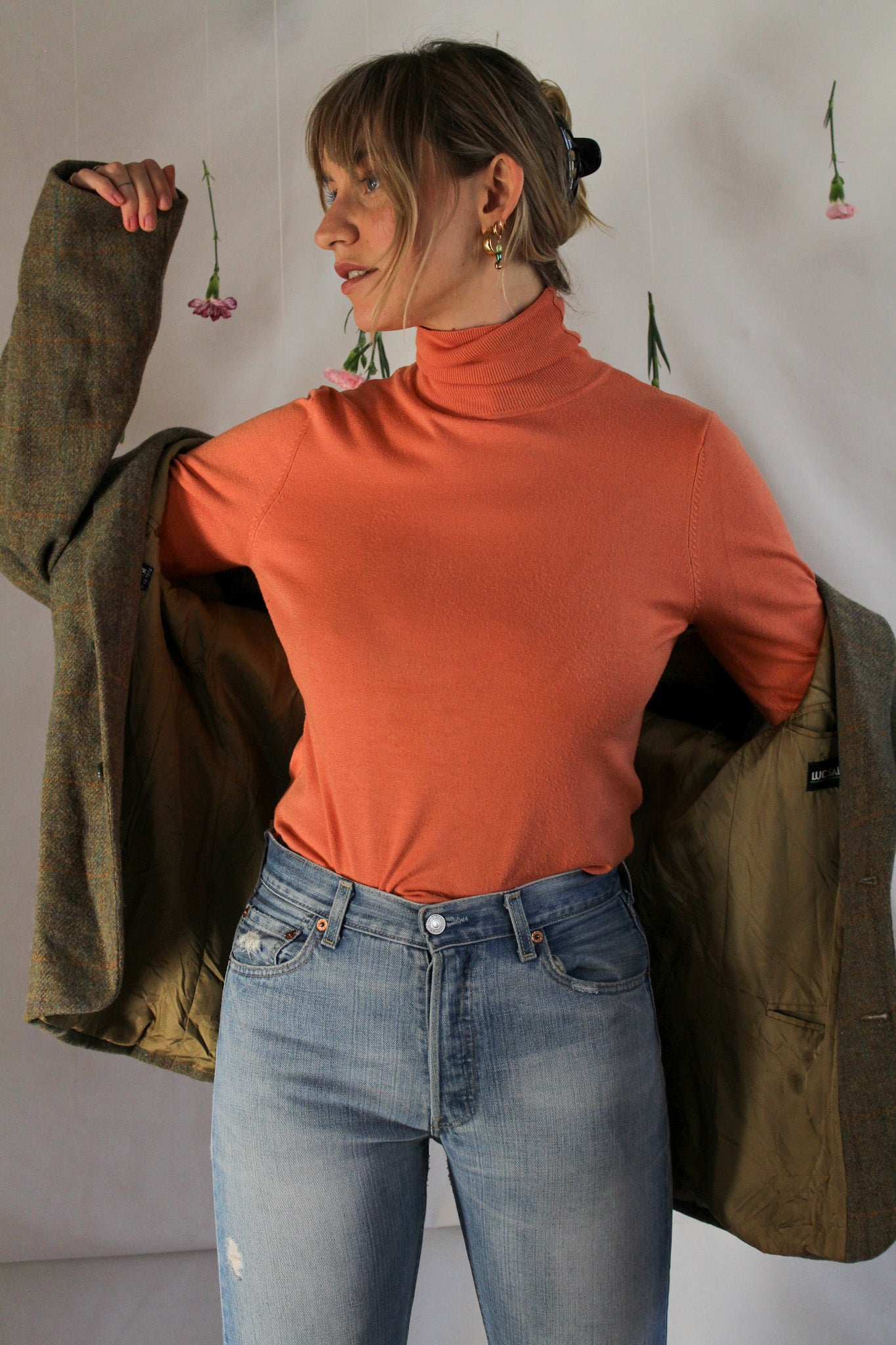 Orange soft turtleneck (S)
