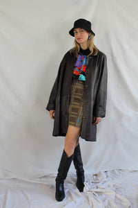Plum / aubergine long leather coat (L/XL)