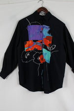 Afbeelding in Gallery-weergave laden, Black blouse with colorful print