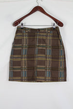 Afbeelding in Gallery-weergave laden, 90's Brown checkered skirt (M)
