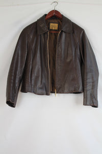 Arma brown leather jacket with gold zipper (S/M)