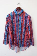 Afbeelding in Gallery-weergave laden, Blue and red spacey blouse (M/L)