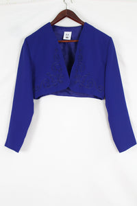 Cobalt blue embroidery cropped jacket (M)