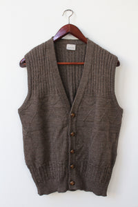 Brown textured vest with wood look buttons