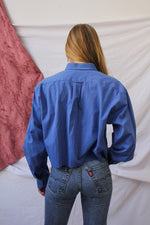 Afbeelding in Gallery-weergave laden, Cobalt blue cropped blouse (L)
