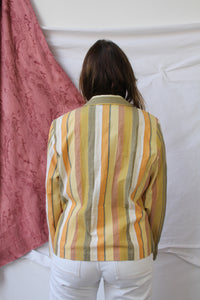 Green, yellow vertical striped blouse (L)