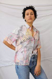 Print blouse with soft colors (M)