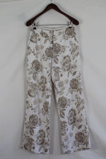 Afbeelding in Gallery-weergave laden, Linen beige flower pants (S/M)
