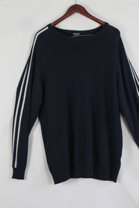 Darkblue oversized sweater with sporty stripes (XXL)