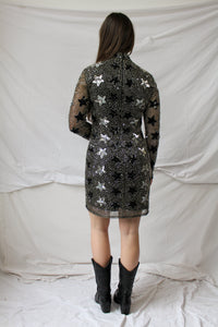 Starry night handmade embroidery dress (S)