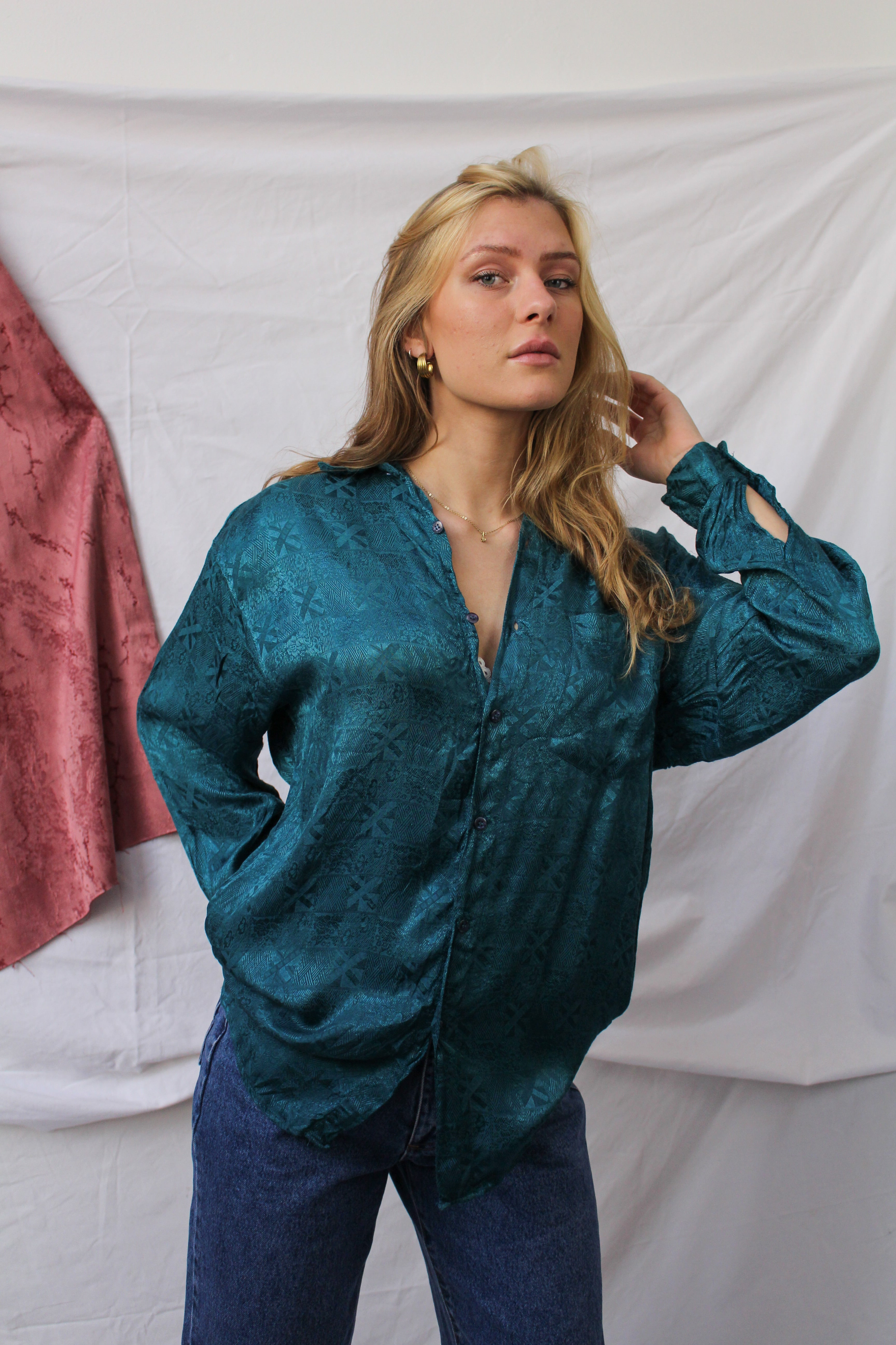 Ocean blue long sleeve blouse with embroidery (L)