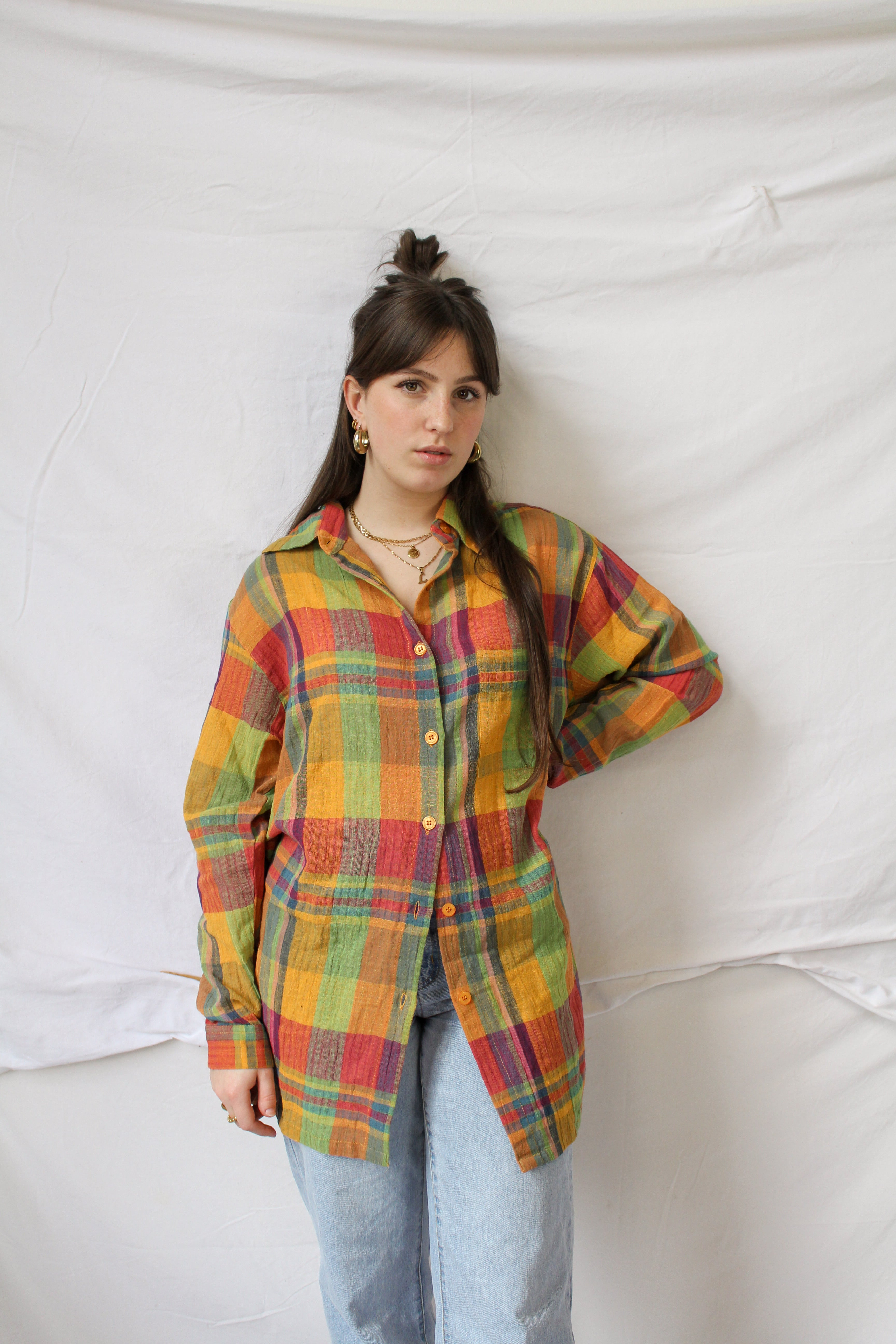 Colorful checker print blouse (L)