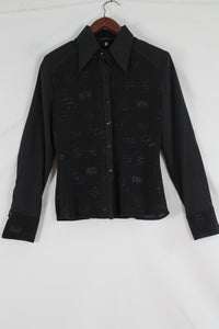 Black blouse with glitter figures (M)