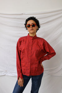 Red texture print top (M/L)