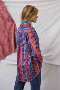 Blue and red spacey blouse (M/L)
