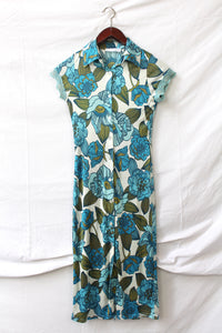 Blue flower Y2K dress with lace sleeve details (XS)