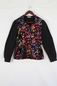 Black blouse with velours colorful print (M)