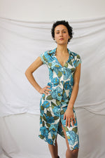 Afbeelding in Gallery-weergave laden, Blue flower Y2K dress with lace sleeve details (XS)