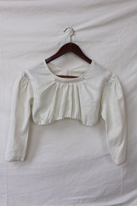 White cropped top with purple hand stitching (XS)