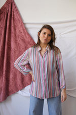 Afbeelding in Gallery-weergave laden, Pink vertical stripes blouse (L)