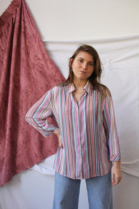 Pink vertical stripes blouse (L)
