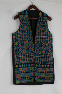 Black waistcoat with ancient embroidery print (S-L)