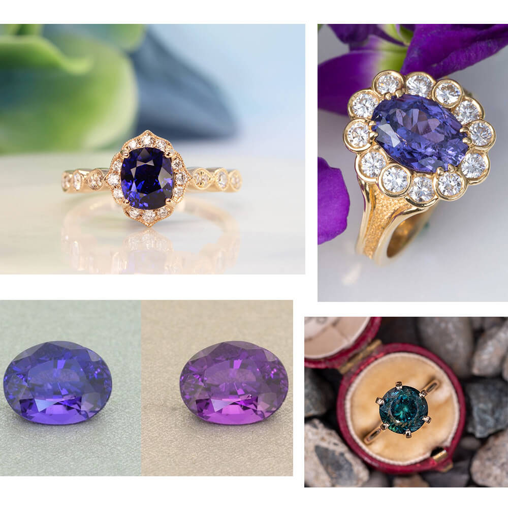 Color change sapphire engagement ring