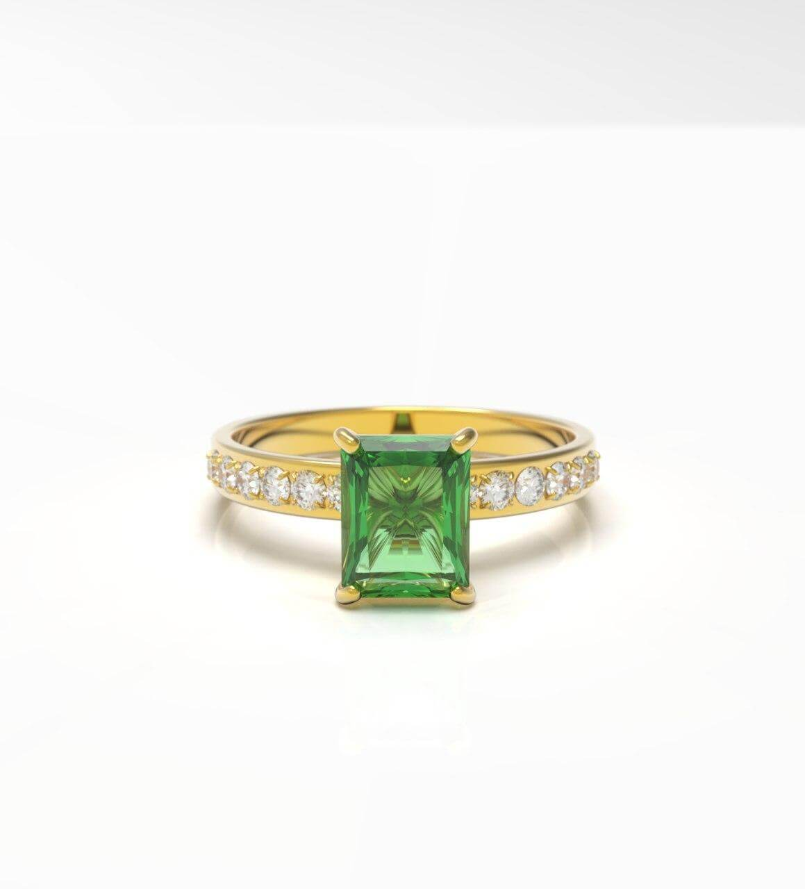 Square stone engagement ring