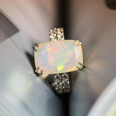 Opal engagement ring Emerald cut