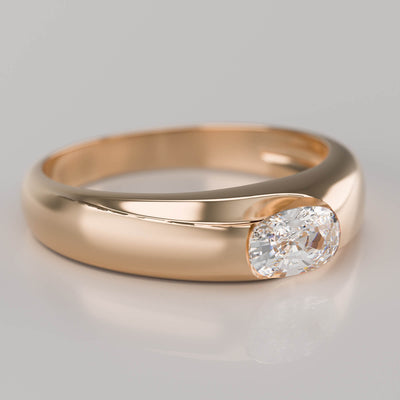 Oval lab diamond 2ct yellow gold