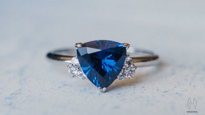 One of a kind blue spinel engagement ring