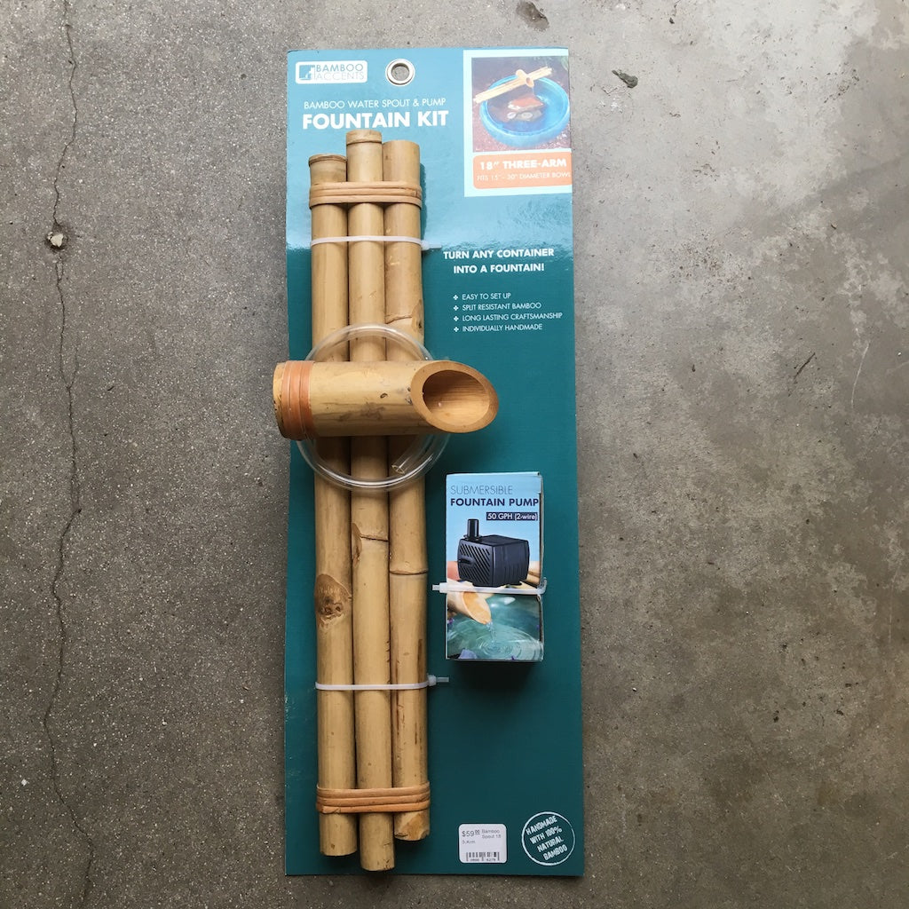 Three-arm bamboo fountain in it's packaging.