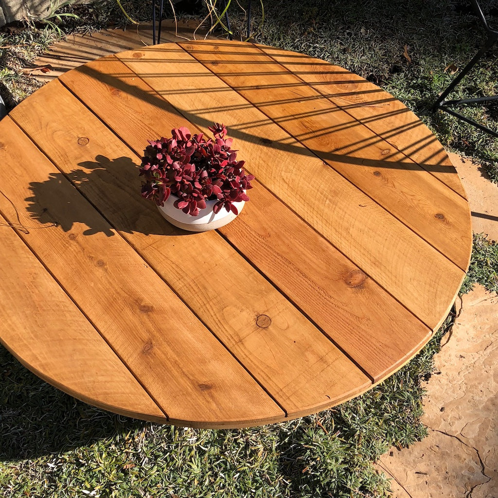 Over head shot of cedar wood fire pit table top cover.