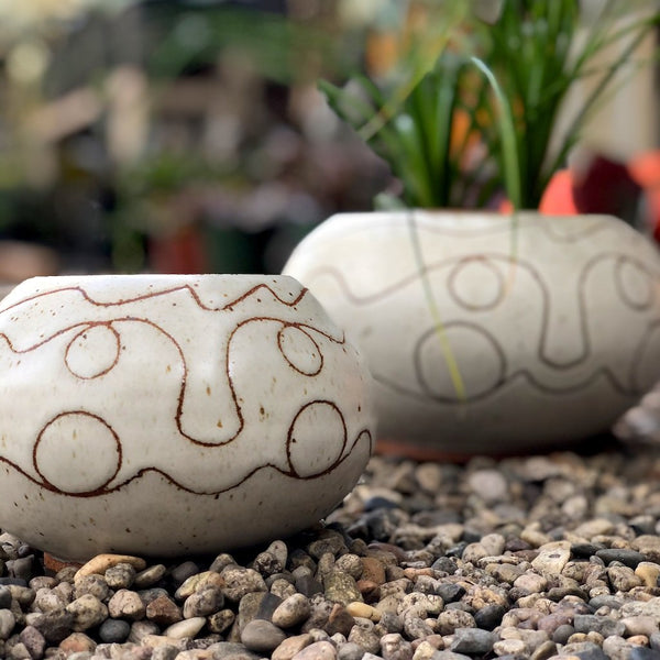 Olive planters by Joan Laidig Ceramics.