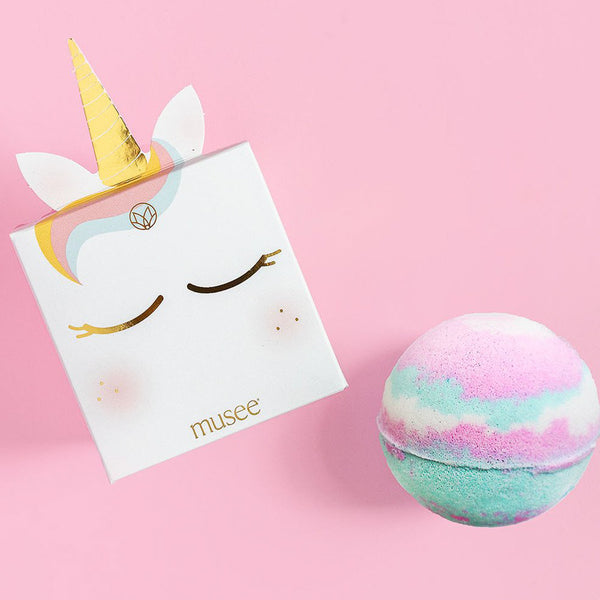 Musee Kids Bath Bombs in unicorn magic