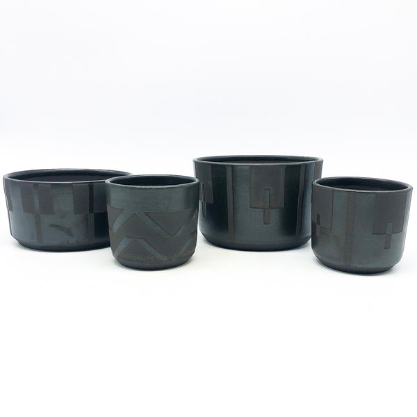 BKB Ceramics - Black on Black Planters