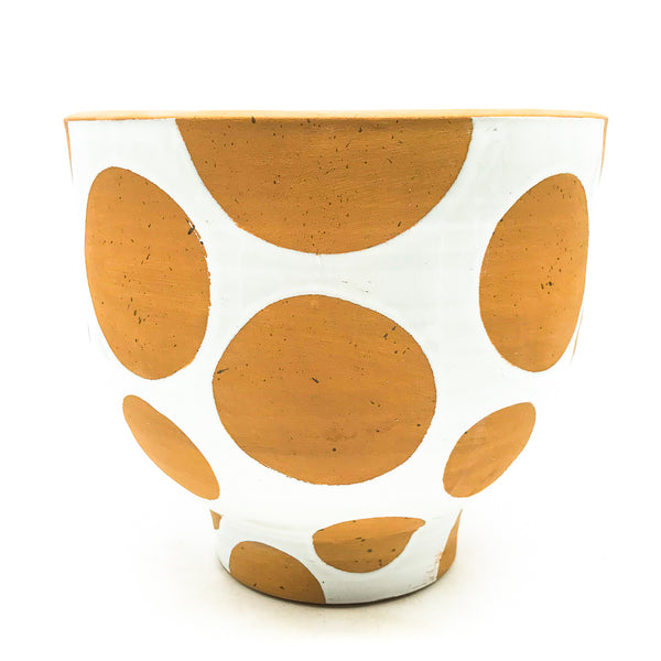 Terra-cotta Footed White Glaze Dot Pot