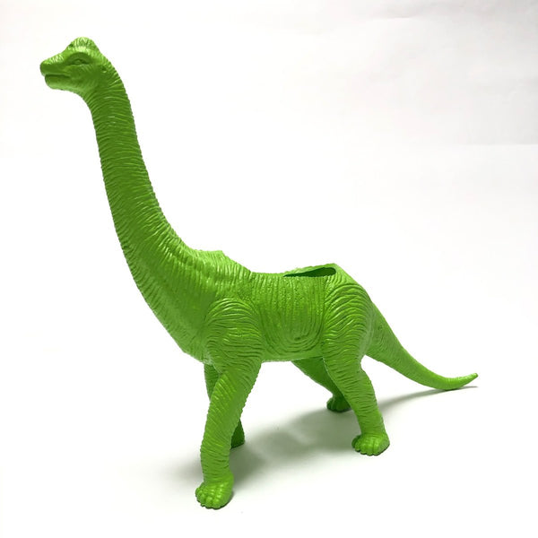 Brachiosaurus dinosaur planter in lime green.