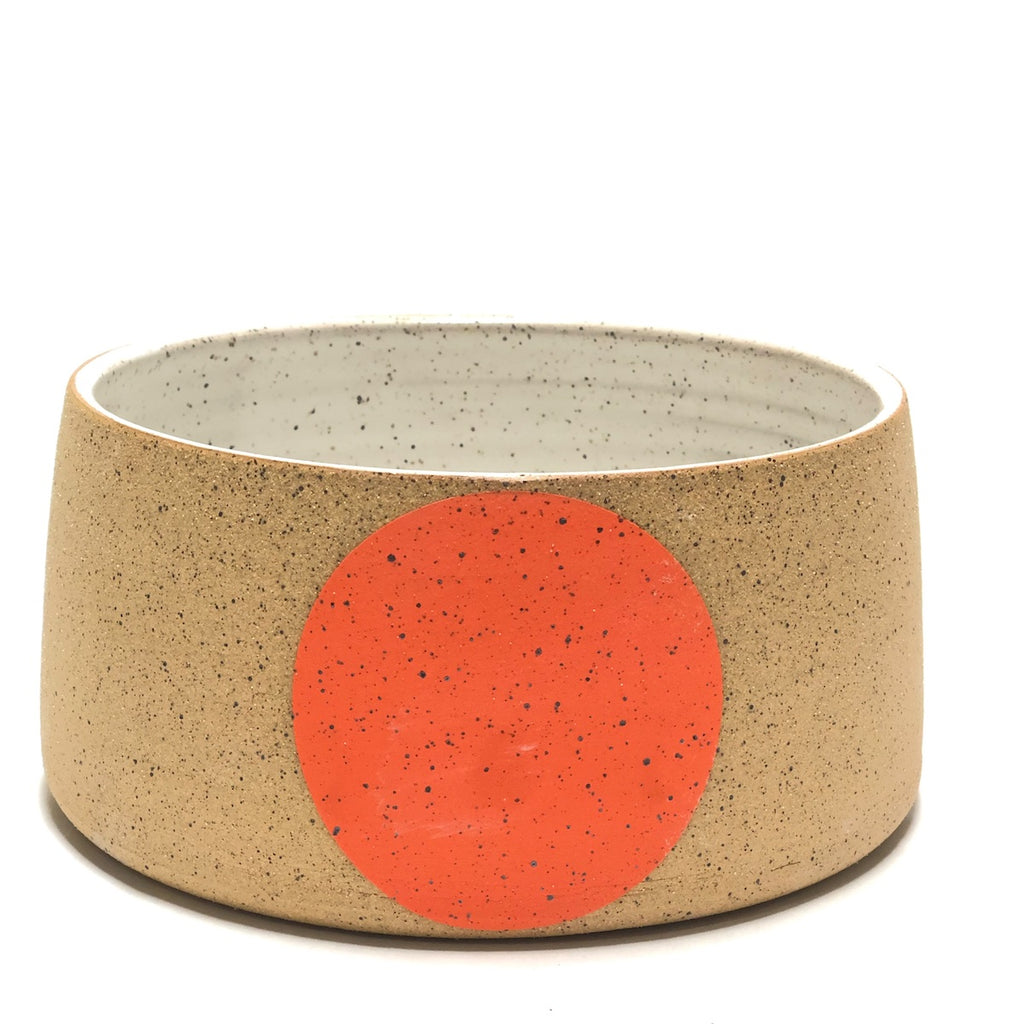 Double M Pottery handmade pot with single orange colored dot.