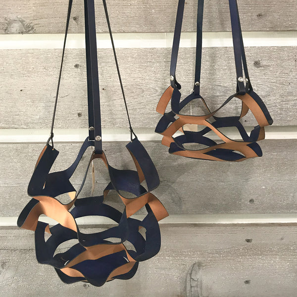 Kirigami Leather Plant Hanger - Navy