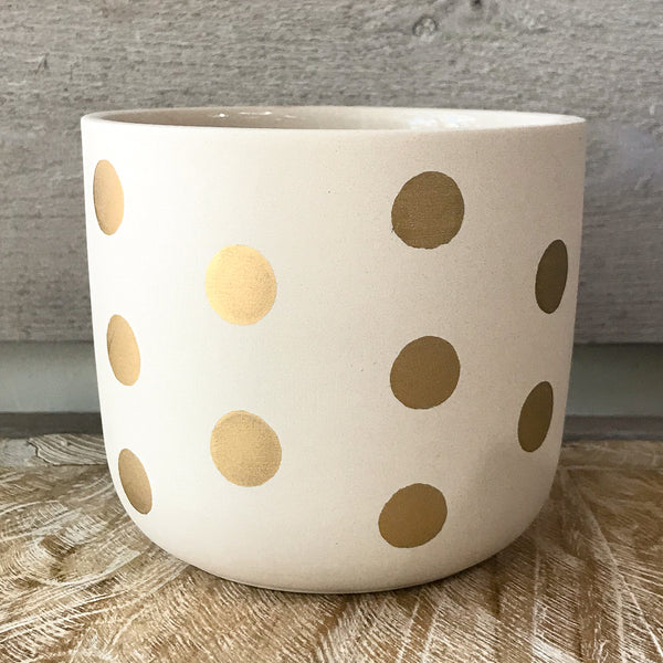 White and gold small dots planter