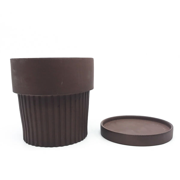 Ribbed Clay Pot & Saucer